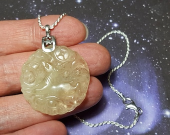 Sale Libyan Desert Glass Capricorn Goat Carving Tektite Meteorite Impact Glass Pendant On A 20 Inch Long Sterling Silver Chain Necklace RARE