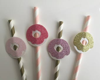 Donut Party Glitter Pink and Gold Straws