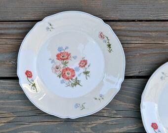 80s 90s Set of 3 Dinner Plates Arcopal France Paradise Poppies Dinner Plates Orange Flower Blue Bands Scalloped Edge Break Resistant