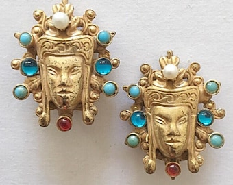 Rare Hattie Carnegie faux Pearl Turquoise & Glass Asian Princess Earrings