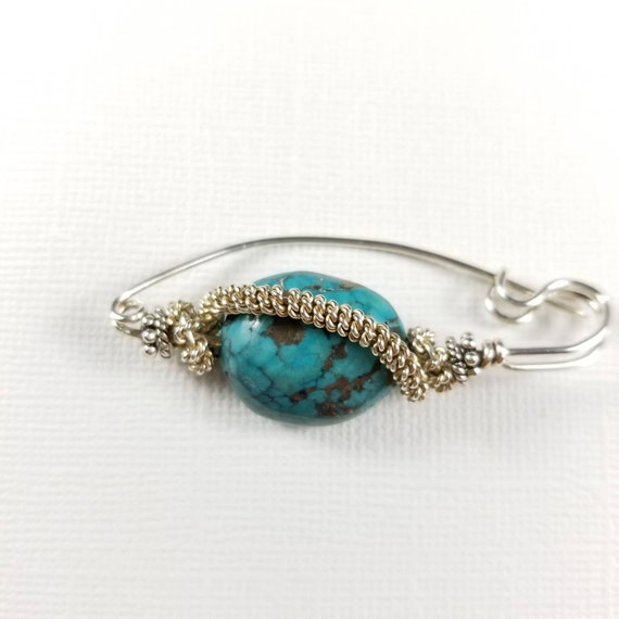 Turquoise and Sterling Silver  Wire Wrapped Shawl Safety Pin Brooch, Braided Silver, Large Blue Stone, Made in Canada, Kilt Pin Brooch
