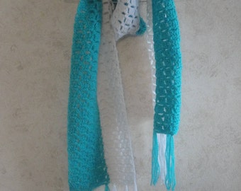 Two tone scarf with fringes