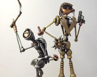 Robot Wedding Cake Topper Ninja CIA Agent Wood Miniature Sculpture