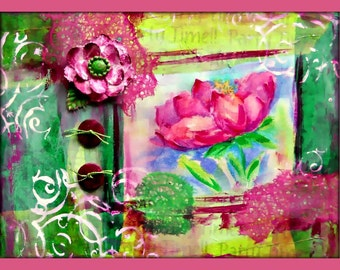 Mixed Media Flower, Flower Collage, Embellished Collage, Embellished Flower, Button Flower, Rice Paper, Silk Flower, Buttons and Bows
