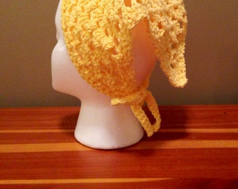Crochet Kerchief, Hair Bandana, Yellow