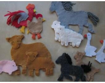 12 Farm Animals felt toys set  -  kids toys  - felt toys