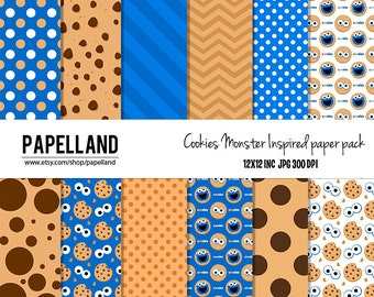 Cookie Monster Digital paper pack for scrapbooking,Making Cards, Tags and Invitations / Instant Download