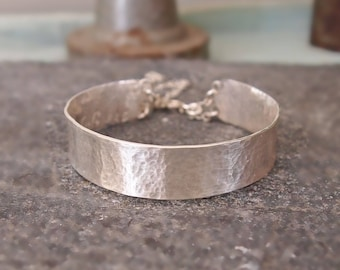 Solid Silver Cuff, Hammered Sterling Silver, Skinny Cuff Bracelet with Safety Chain, Simple, Minimalist