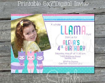Llamacorn Birthday Invitation |  Llama Photo Birthday Invite | Llama Party | Llama Corn Decorations | Digital Download | Printable Invite