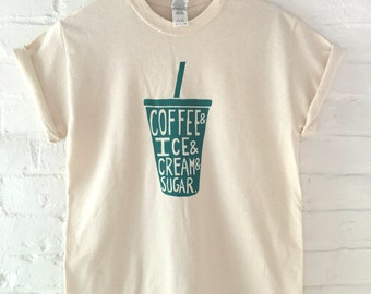 Coffee Shirt, Food Shirt, Screen Printed T Shirt,  Coffee Print, Iced Coffee