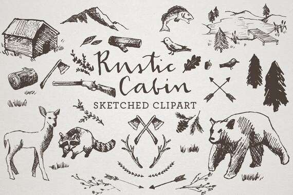 Rustic Cabin Clipart Sketched Clip Art Crosshatch Hand