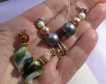 Lot Of Retro Dangling Beaded Pierced Earrings One Missing Ear Wire Repair Repurpose