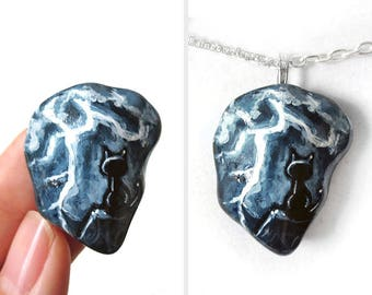Black Cat Necklace, Lightning Bolt, Pet Painting, Hand Painted Rock Jewelry, Beach Stone Pebble Pendant, Gift for Pet Owners, Cat Art