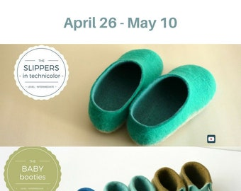 Mother's Day Gift - Felted Slippers/Felt Slippers/Wool Slippers/Gift For HER - BABY Shoes - Wet Felting Video Tutorial/DIY/Instant download