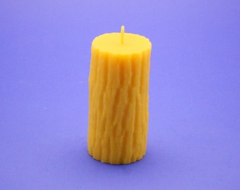 Beeswax Candle, 2.4 x 5 Tree Bark Pillar Candle, 100% Pure Beeswax Candle, Pure Bees Wax Candle, Elegant Home Decor Candle Lighting