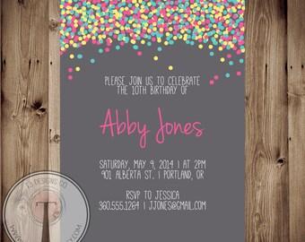 Confetti birthday invitation, bright birthday invite, girls birthday, tween birthday, 30th birthday, 40th, 21st birthday, party invitation