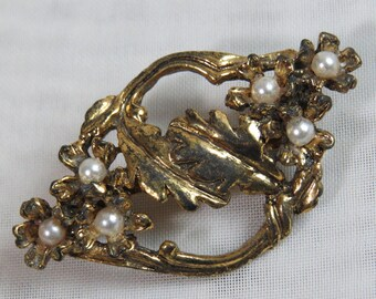 ART NOUVEAU Antique Gold and PEARL Brooch 1950s Vintage Gold Pin