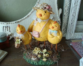 Easter Centerpiece Paper Mache Easter Farmhouse table decor Chicken decoration yellow Cottage Chic large figurine cute chicken and babies