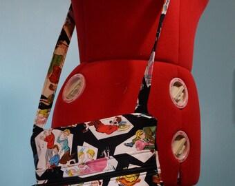 1950s Retro Scene Licensed Fabric Crossbody Bag with Zipper Cross Body Bag - Purse - Handbag - Kitsch Sock Hop Kids - Mid Century Cute
