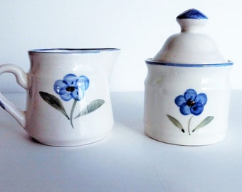 Blue Floral Sugar Bowl and Creamer by CIC Connection