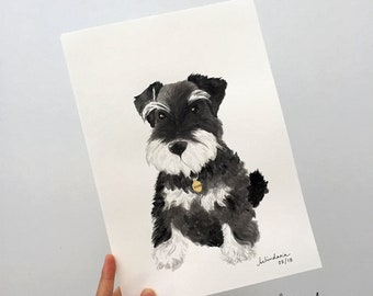 Custom Pet Portrait Illustration Drawing / Commemorative, Watercolour Ink