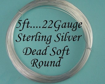 5 Ft-- 22g Sterling Silver Round Wire - Dead Soft