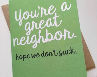 Neighbor Card - Thank You Card - Thanks - Friend Card - Thinking of You Card