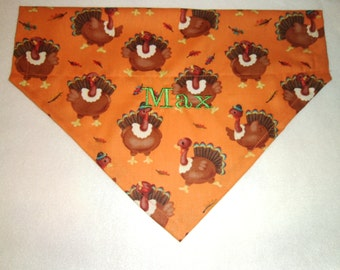 Thanksgiving, Monogram, Turkeys , Dog Bandana, Scarf, Over the Collar, Dog Bandana, Collar, Puppy Gift, Dog Lovers gift, Dog Clothes, Gift