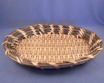 Hand Woven Basket // Two Tone // Shallow Oval // Wall Decor // Table Decor // Display Basket