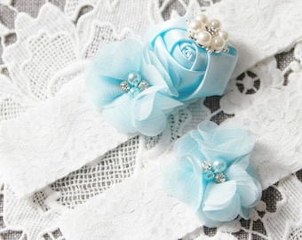 Blue Garter Set Bridal Garter Wedding Garter Belt - Lace Garter Prom Garter Blue Garter Ivory Garter - Light Blue Garter Set - Rustic Garter