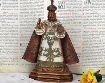 Antique Statue Infant of Prague Infant Jesus Santo Nino Collector Gorgeous HTF