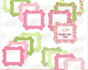 16 Digital Printable Shabby chic Frame Labels for Scrapbooking