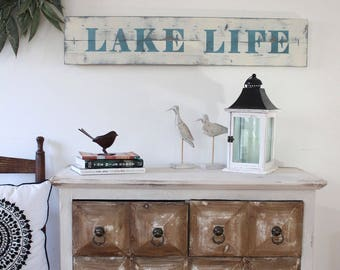LAKE LIFE SIGN, beach life, nautical signs, lake house decor, beach house decor, large nautical art, nautical gallery wall