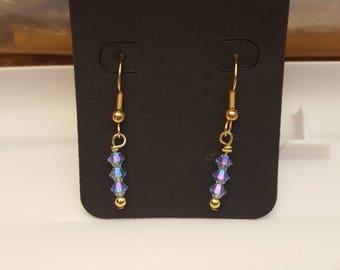 Swarovski rainbow unicorn crystal 14k gold earrings
