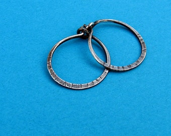 SINGLE sterling silver small hoop hammered, textured  5/8 inch