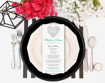 Love Languages Wedding Menu - Printable DIY - Heart - Black Mint Blue Turquoise - I Love You - Bilingual Wedding Dinner Menu - Diana
