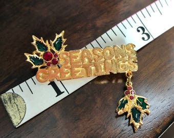 Seasons Greetings Holiday Pin Brooch