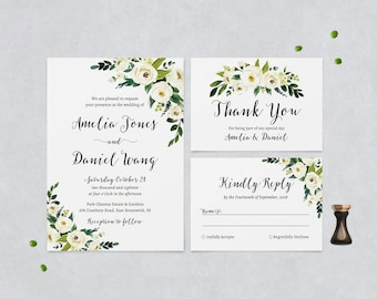 White Flower Wedding Invitation Cards - Printable Boho Wedding invites - Greenery Wedding Invitations - Floral Wedding Set - Rustic florals