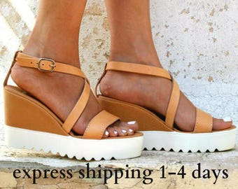 ARIADNE sandals/ wedge platform/ Greek leather sandal/ platform sandal/ criss cross sandal/ ankle strap sandals/ natural beige sandals