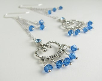 Blue Sparkles.  Chandelier Earrings with Blue Swarovski Crystals
