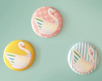 Set of 3 Swan Badges - swan illustration - 2.2 inch pin button