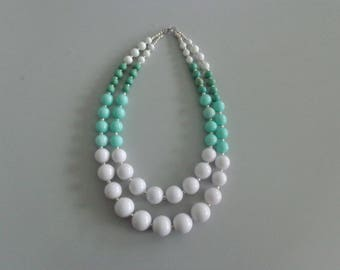 White mint statement necklace