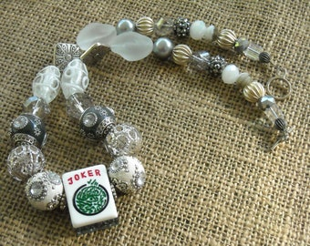 Collier de Mahjong - Mahjong - Jesse James perles - jeu de Mahjong Mahjong Joker - Joker Mahjong Tile - - Oriental bijoux - cadeau cadeau