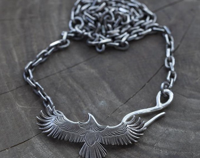 Silver Eagle Necklace   Eagle Pendant   Sterling Silver Necklace   Native American Inspired   Silver Bird Pendant   Oxidized Silver Jewelry