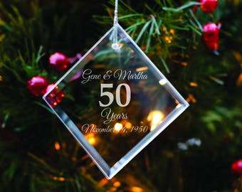 Custom Anniversary Ornament - Anniversary Gift - Christmas Tree Decoration - Wife Gift - Xmas Present - Gift for Parents - Grandparent Gift