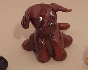 Labrador figurine glass dog, miniature dog, glass figure, labrador love, cute glass, gift for dog owner, glass animal, fairy garden, lab pup