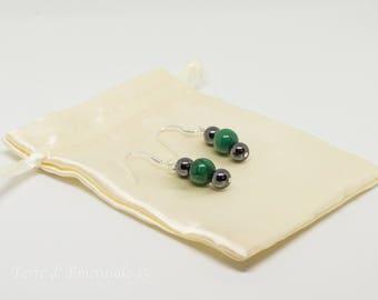 Malachite earrings / hematite