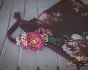 RTS Floral wrap and tieback set, Vine Burgundy Newborn Floral Photo prop set, Newborn Photo Prop, Floral wrap, Newborn tieback.