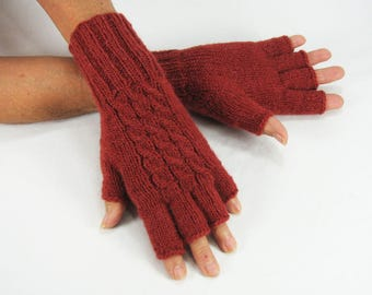Ladies Alpaca Wool, Half-Fingered, Fingerless Hand Knitted Gloves, Paprika, Cabled, Very Soft, Warm, Lightweight, Gifts for Her under 45.00