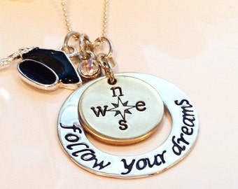 Hand Stamped Graduation necklace-follow your dreams personalized necklace-Graduation gift-compass necklace